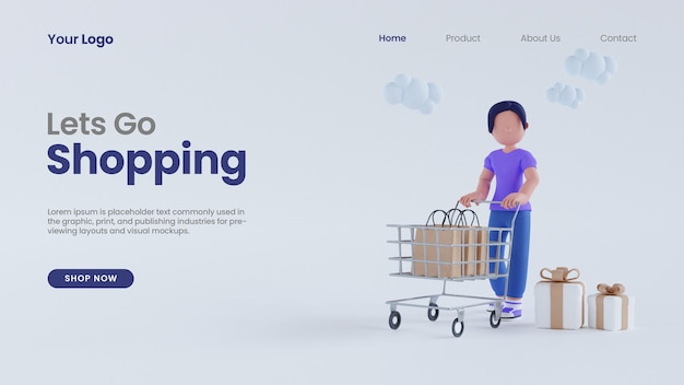 3d render kobieta kobiety z koszykiem zakupy z ekranem komputera koncepcja strony docelowej szablon psd