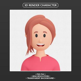 3d render kobieta kreskówka awatar