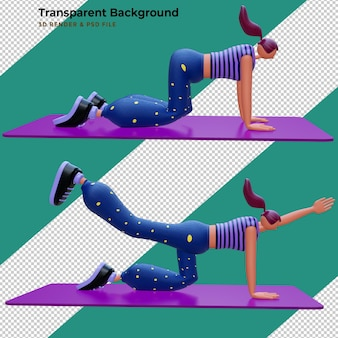 3d render kobieta postaci z kreskówek robi joga sport concept 3d illustration design