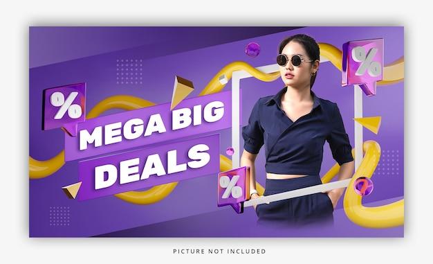 3d render kolorowy baner promocyjny sprzedaż zniżki