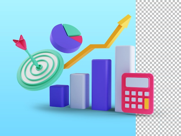 3d render koncepcji roi zwrot z inwestycji ludzie zarządzający przychodami z wykresu finansowego
