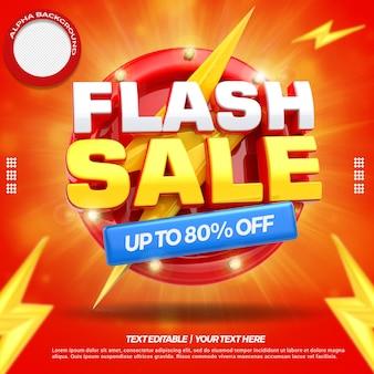 3d render koncepcji sprzedaży flash z 80 procent zniżki