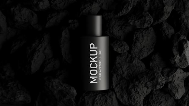 3d render kosmetyku do brandingu makiety z czarną koncepcją