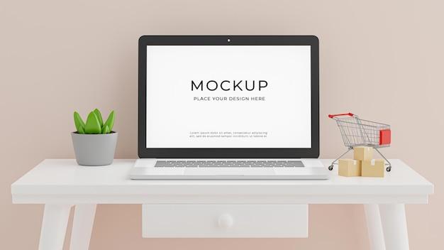 3d render laptopa z makieta koncepcja pokoju do pracy i zakupy