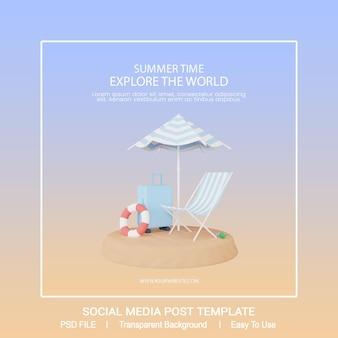 3d render letni szablon postu w mediach społecznościowych