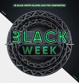 3d render logo czarny tydzień neon zielony