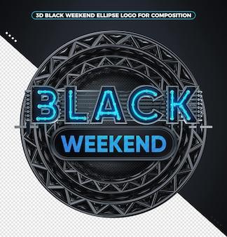 3d render logo czarny weekend neon niebieski