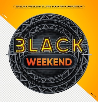 3d render logo czarny weekend neon żółty