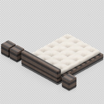 3d render łóżko izometryczne