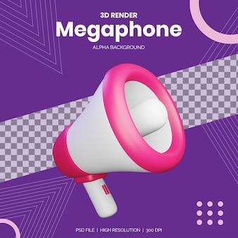 3d Render Megafon Do Makiety Projektów Reklamowych Premium Psd
