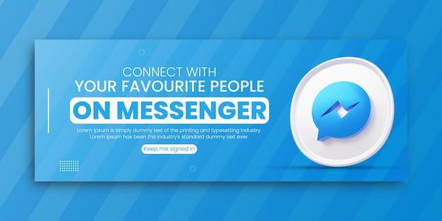 3d render messenger promocja biznesowa dla szablonu projektu okładki na facebooku w mediach społecznościowych