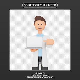 3d render mężczyzna postać z kreskówki wskazując w górę laptopa
