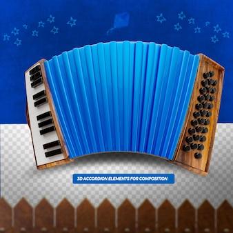 3d render niebieski akordeon do kompozycji festa junina