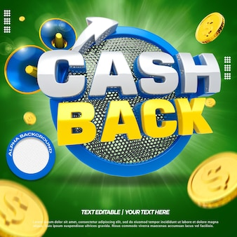 3d render niebieski koncepcja cashback z monetami i megafonem