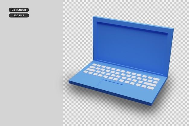 3d render niebieski laptop premium render