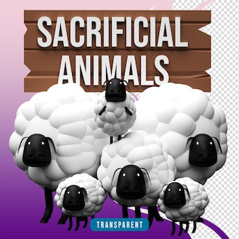 3d render ofiarne zwierzęta owce