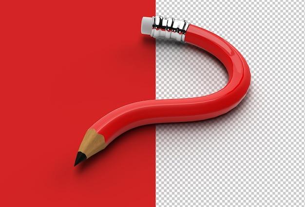 3d render ołówek znak zapytania przezroczysty plik psd.