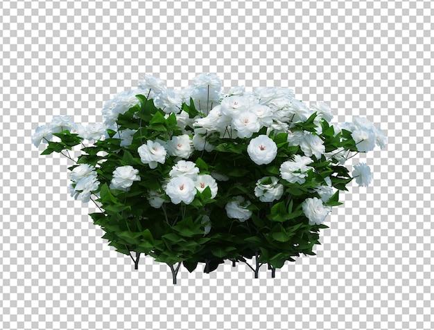 3d render pędzla drzewo z kwiatami na białym tle
