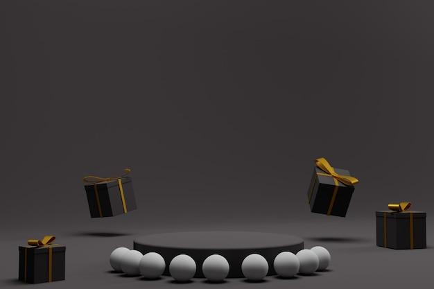 3d render podium na boże narodzenie tło wyświetlacza