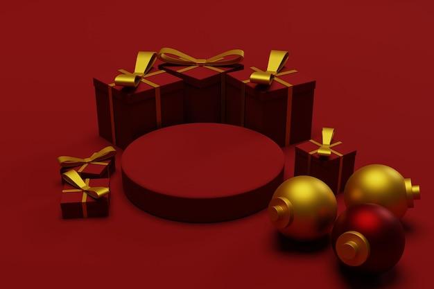 3d render podium świąteczne tło dla reklamy produktu