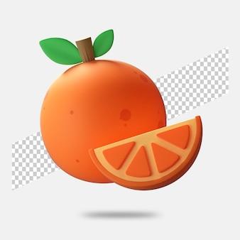 3d render pomarańczowa ikona na białym tle