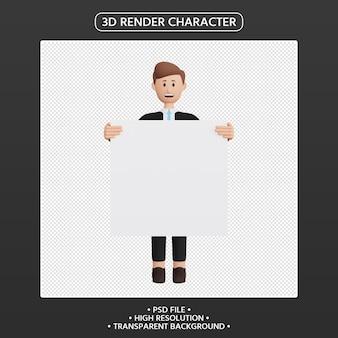 3d render postać mężczyzny trzymająca pustą afisz