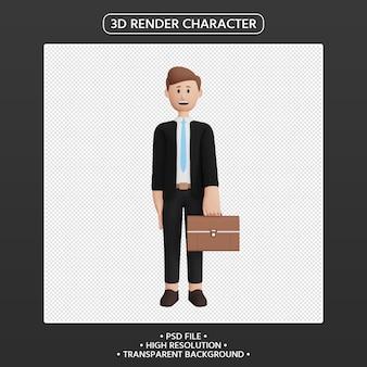 3d render postać mężczyzny z aktówką torby biznesowej