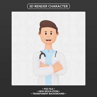 3d render postać z kreskówki lekarz ubrany w mundur i stetoskop