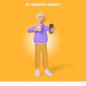 3d render postać z kreskówki trzymająca smartfona i kubek