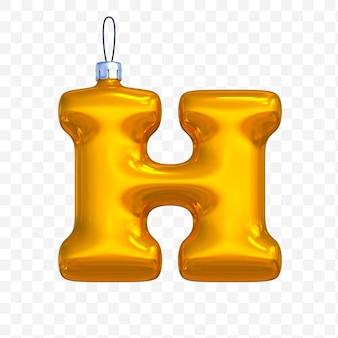 3d render premium psd złote litery alfabetu boże narodzenie kulki z na białym tle