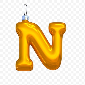 3d render premium psd złote litery alfabetu boże narodzenie piłka n na białym tle
