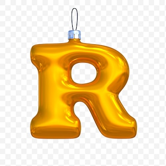 3d render premium psd złote litery alfabetu boże narodzenie piłka r z na białym tle