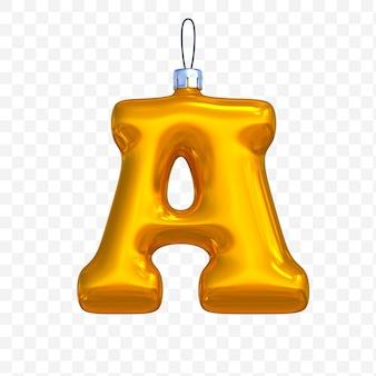 3d render premium psd złote litery alfabetu boże narodzenie piłka z na białym tle