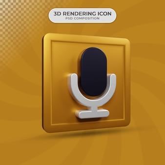 3d render projektowania ikony mikrofonu