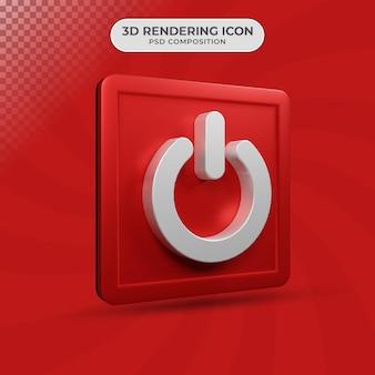 3d render projektowania ikony przycisku zasilania