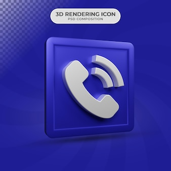 3d render projektowania ikony symbolu telefonu