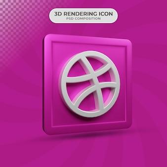 3d render projektu ikony dryblingu mediów społecznościowych