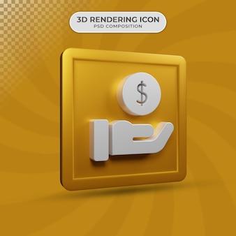 3d render projektu ikony znak dolara dochodu