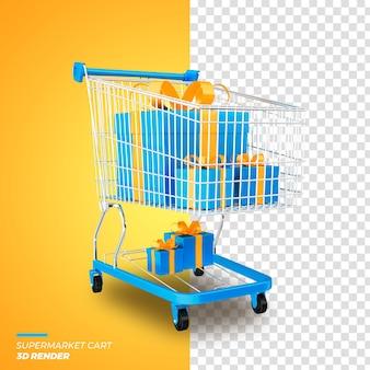 3d render promocja sprzedaży wózka supermarketowego na białym tle