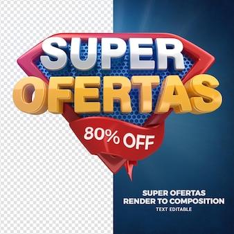 3d render przednie super oferty dla kampanii sklepów ogólnych w języku portugalskim
