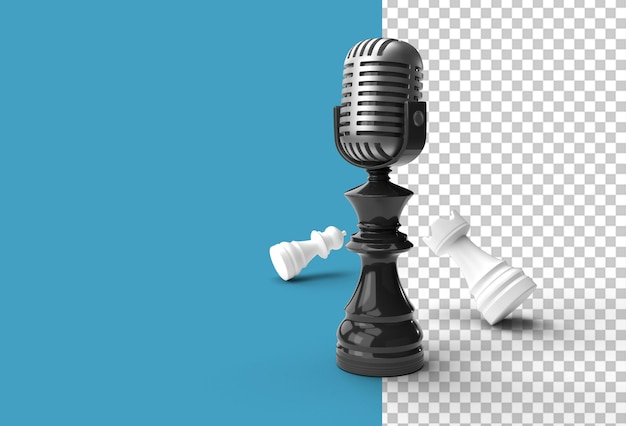 3d render realistic szachy król wieża i pionki żołnierz z mikrofonem