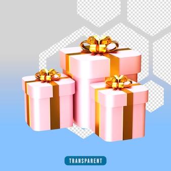 3d render różowe pudełko na prezent