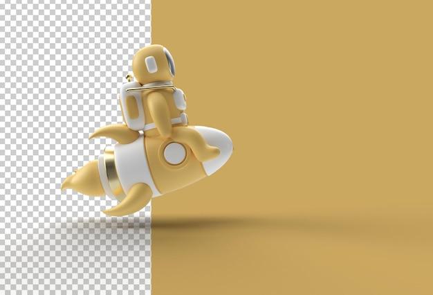 3d render spaceman astronauta lecący z rakietą