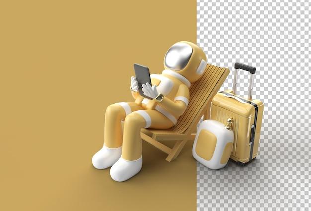 3d render spaceman astronauta siedzący na krześle przy użyciu telefonu z walizką podróżną