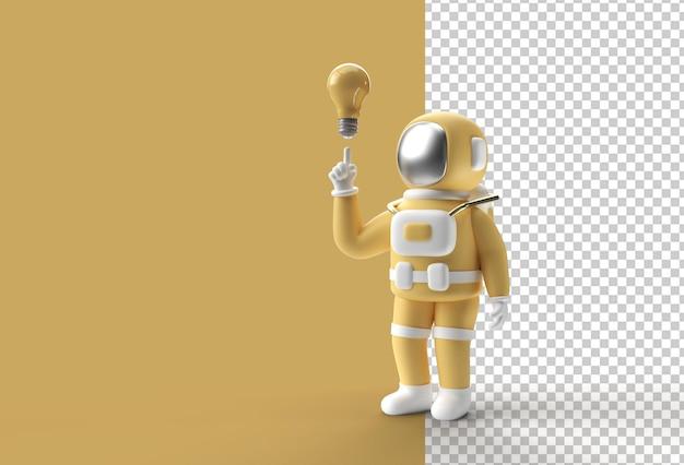 3d render spaceman astronauta z żarówką