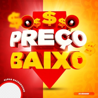 3d render strzałka niska cena promocja sprzedaży kampania brazylijska premium psd