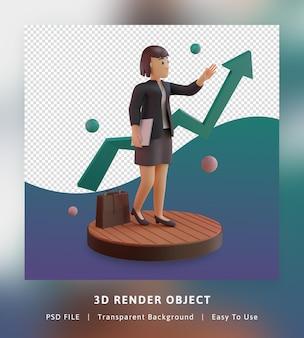 3d render stylowego charakteru z wykresem statystycznym