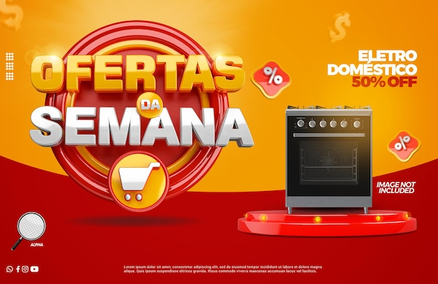 3d render super mega wyprzedaż z podium dla kampanii sklepów ogólnych w języku portugalskim
