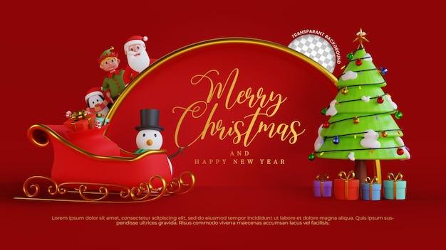 3d render świąteczne pozdrowienia tło frae z ilustracją mikołaja i przyjaciół
