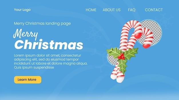 3d render świąteczny szablon strony docelowej trzciny cukrowej
